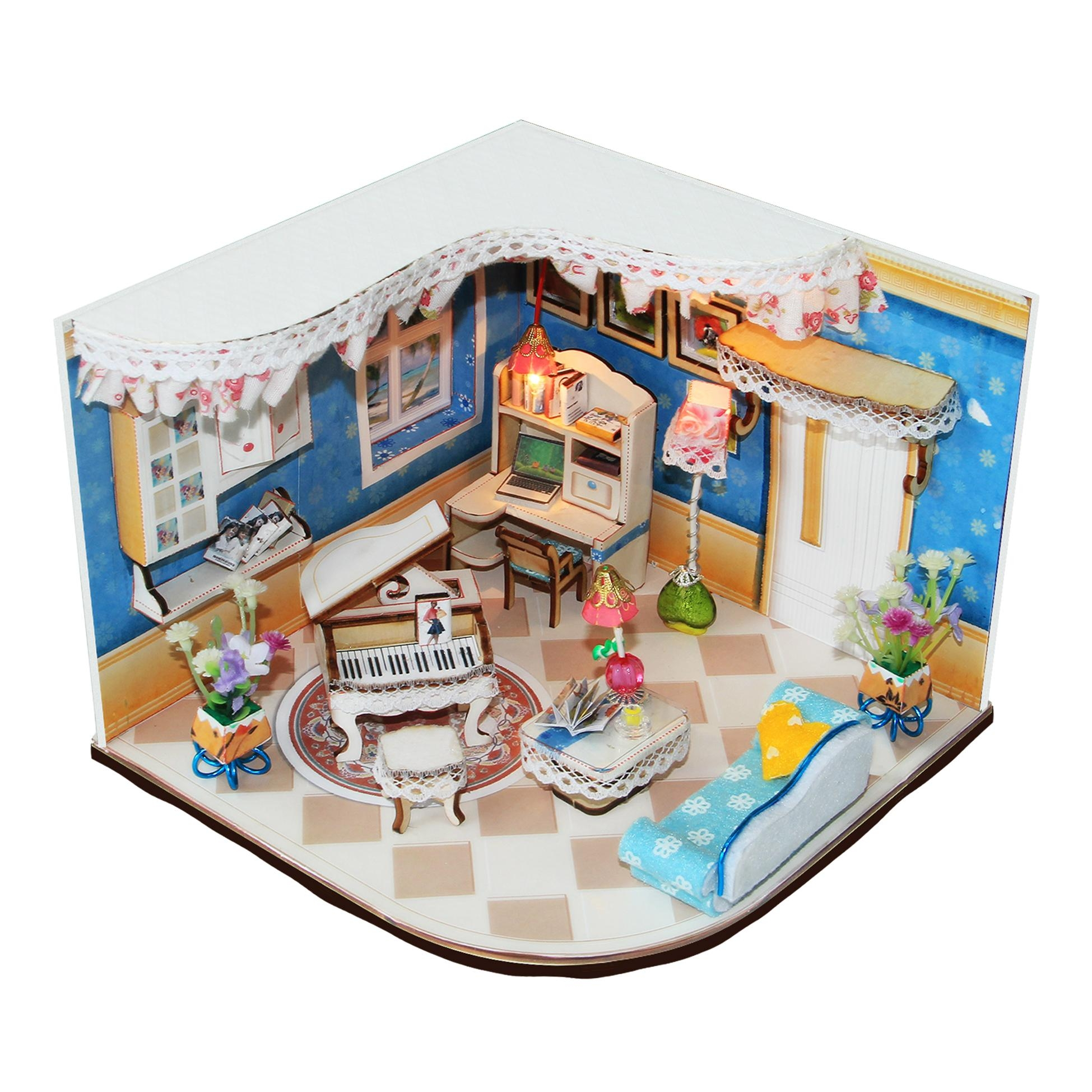 wooden doll house  plan toy  model building  puzzle 3D  3