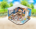 wooden doll house  plan toy  model building  puzzle 3D  1