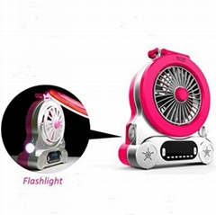 electric table fan/ portable mini handheld fan  with LED lamp/flash light/ MP3