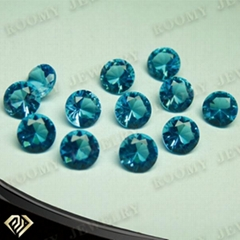 AAA quality competitive price round shape blue glass gemstone