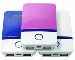 Universal portable power bank external battery pack has 2USB ports multi colors
