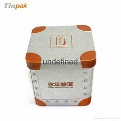 FDA embossed square tea tin box