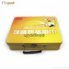 dongguan rectangular tin lunch box with handle
