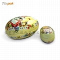 decorated egg-shaped Easter tin box