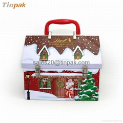 house shaped Christmas gift packaging tin container