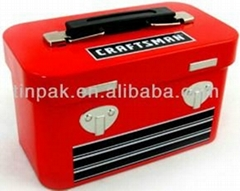 red rectangular tin lunch box