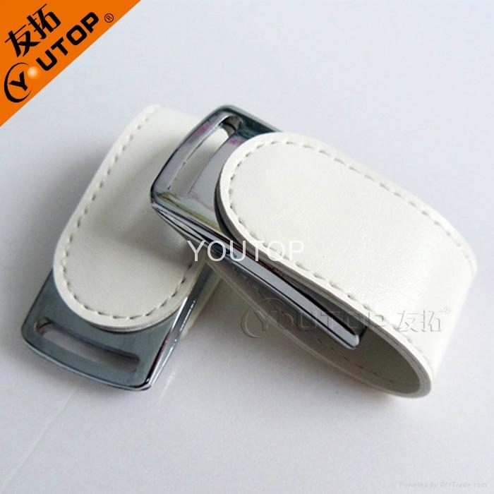 Fashional Leather USB Flash Drive  with Emboss Logo(YT-5116) 2