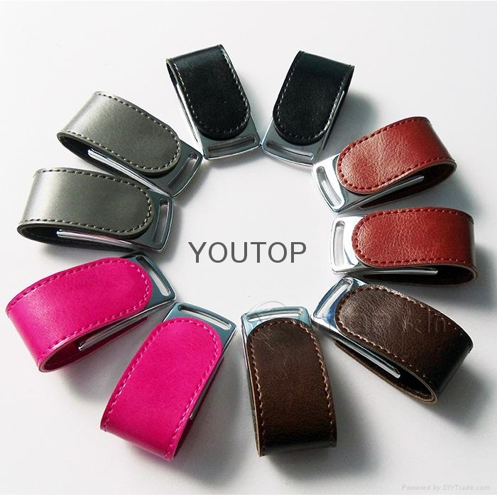 Fashional Leather USB Flash Drive  with Emboss Logo(YT-5116) 5
