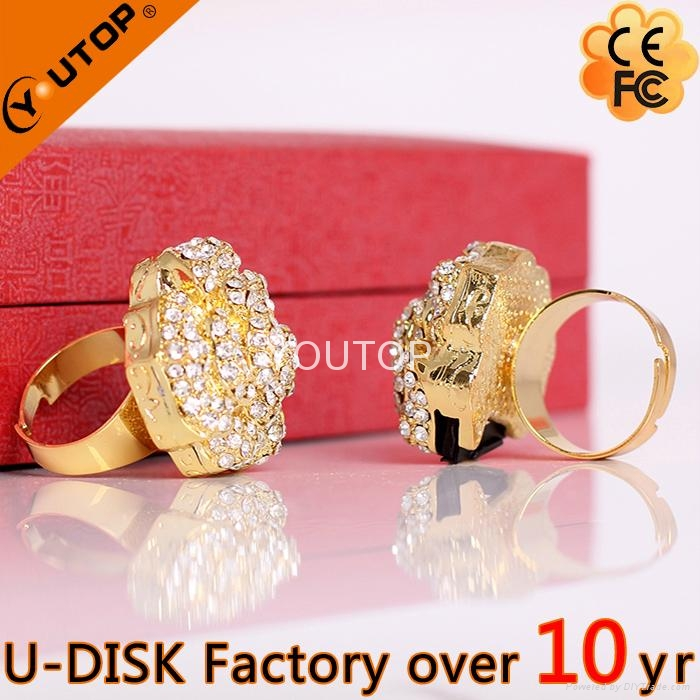 Hot Sunflower Flower Pendant Crystal Jewelry USB Flash Drive (YT-6274) 5