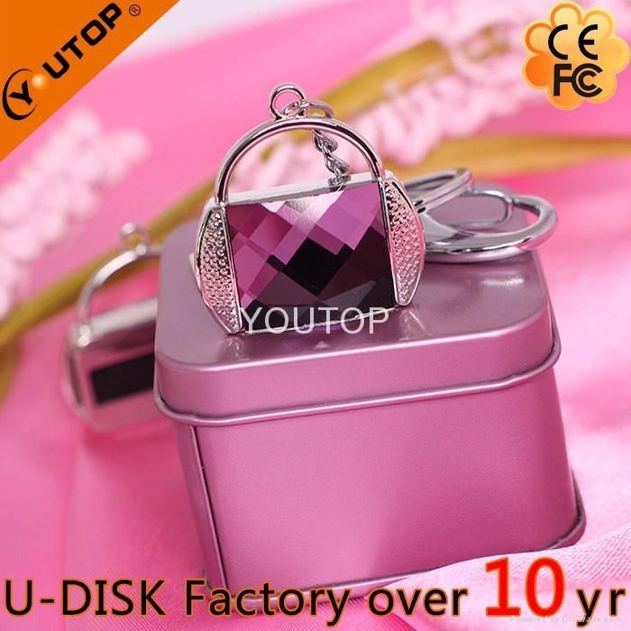 Hot Sunflower Flower Pendant Crystal Jewelry USB Flash Drive (YT-6274) 3