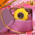 Hot Sunflower Flower Pendant Crystal Jewelry USB Flash Drive (YT-6274) 2