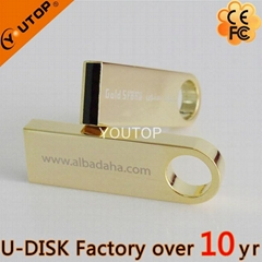 Hot Golden Mini Metal USB Stick Flash Drive (YT-3295-01)