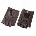 Mens Fingerless genuine Leather Gloves