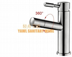 150mm QZ510A 360 degree rotate light 304 stainless steel basin faucet mixer tap