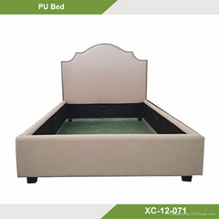 High quality arched beige modern luxury platform bed gas lift beds XC-12-071
