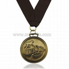 round cheap custom antique brass medal