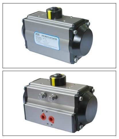 Rotary double single pneumatic actuator for control va  e 1