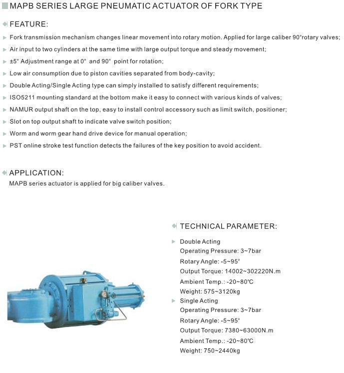 Pneumatic va  e linear actuator of fork type 2