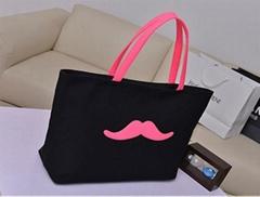 新款鬍子圖案帆布購物袋