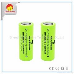 New arrival vappower imr26650 battery 3.7v 5200mah vappower 26650 20a battery