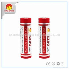 Good quality cylidrical ICR 18650 3.7V 3200mah battery from mainifire