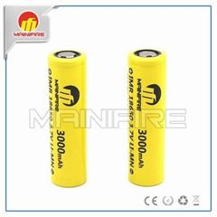 Flat top high drain high current Mainifire imr18650 3000mah 40a 3.7v rechargeabl