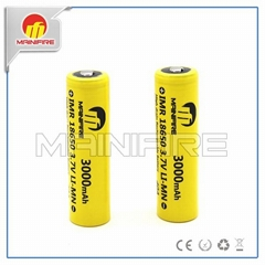 Button top best quality Mainifire 18650 40A 3000mah yellow battery for ego e cig