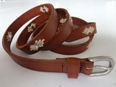 Lady Skinny Corded Leather Belt, shiny rhinestone rivets, 100% LEAHTER