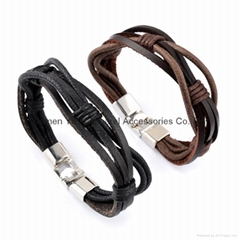 jewelry leather bracelet leather wristband with titanium steel closure