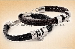 Leather Bracelet Skull Head Hareware Stainless Steel