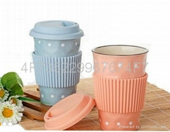double wall ceramic coffee mug with lid