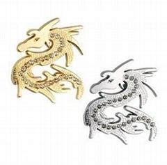 3D Chrome Metal Rhinestone Dragon Car Sticker