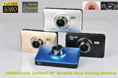 3.0'' Touch Screen 1080P Car Camera DVR with 170 Degree&24 hour parking function