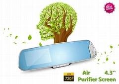 2014 Latest 4.3'' 720p hd Healthy Air Purifier Car Mirror Camera Black Box DVR