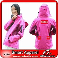 Women Ski Jacket with battery system heating clothing warm OUBOHK