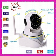HD Megapixel H.264 720P Plug and Play WiFi P2P IP Camera Baby Monitor
