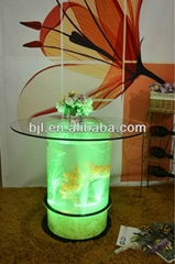led interactive bar glass waterfall table