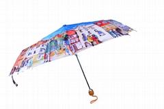 歐洲油畫防幅射晴雨兩用三折傘