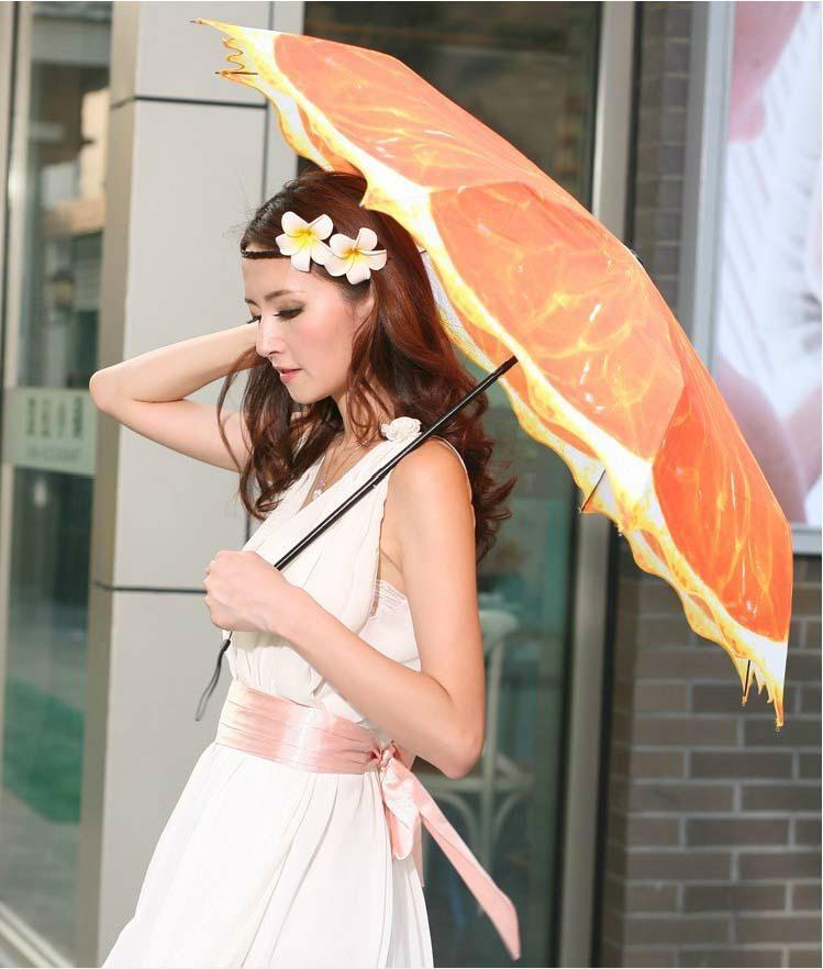 清新水果橙子遮陽創意三折禮品雨傘 5