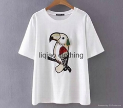 WHOLESALE LADY'S APPLIQUE BRID SHORT SLEEVE T-SHIRT