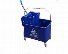 OEM industrial Public place Cleaning Equipment PP 24L Blue Wringer Mop Bucket