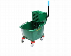 Whosale Quality 36L single PP hotel cleaning Green Wringer Mop  Bucket