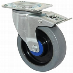 5 inches ball bearing ealstic rubber casters with brakes