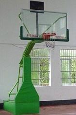 移动透明玻璃内箱式带轮篮球架