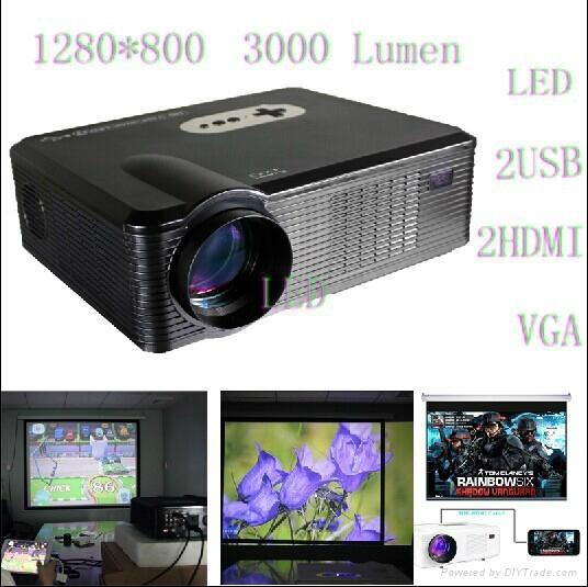 Mini Led Projector With hdmi usb vga tv Media Tuner For Home Theater/ktv/Restaur 1