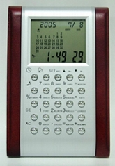 Desk top calculator and clock