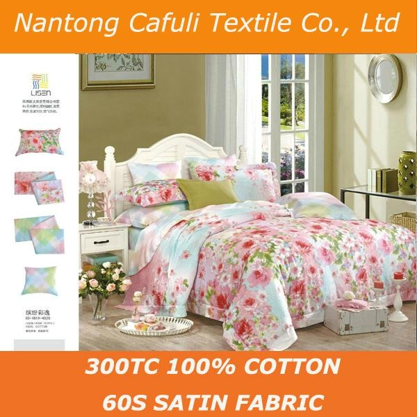 China Manufacturer 100% origin cotton satin reactive printing bed sheet fabric 1