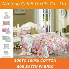 China Manufacturer 100% origin cotton satin reactive printing bed sheet fabric