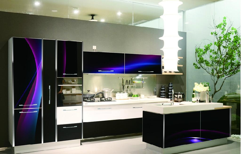 3d glass kitchen cabinet yk3d601 yake china for Kitchen manufacturers