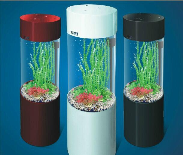 Small acrylic cylindrical fish tank fish aqurium m for Cylindrical fish tank